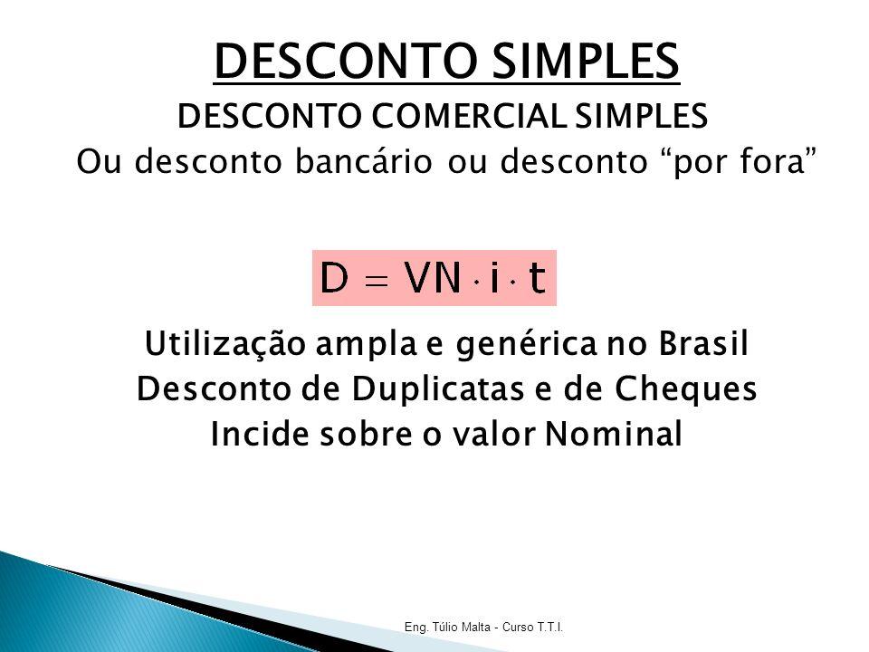 DESCONTO SIMPLES DESCONTO COMERCIAL SIMPLES Ou desconto bancário ou desconto por fora Utilização ampla e genérica no Brasil Desconto de Duplicatas e de Cheques Incide sobre o valor Nominal Eng.