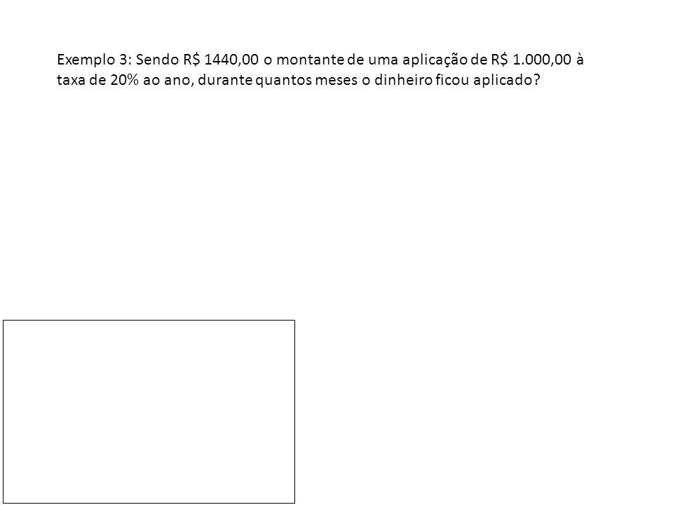 Exemplo 4: Sendo R$ 1464,10 o montante de uma aplicação de R$ 1.000,00 após 4 anos, qual foi a taxa anual de juros aplicada?