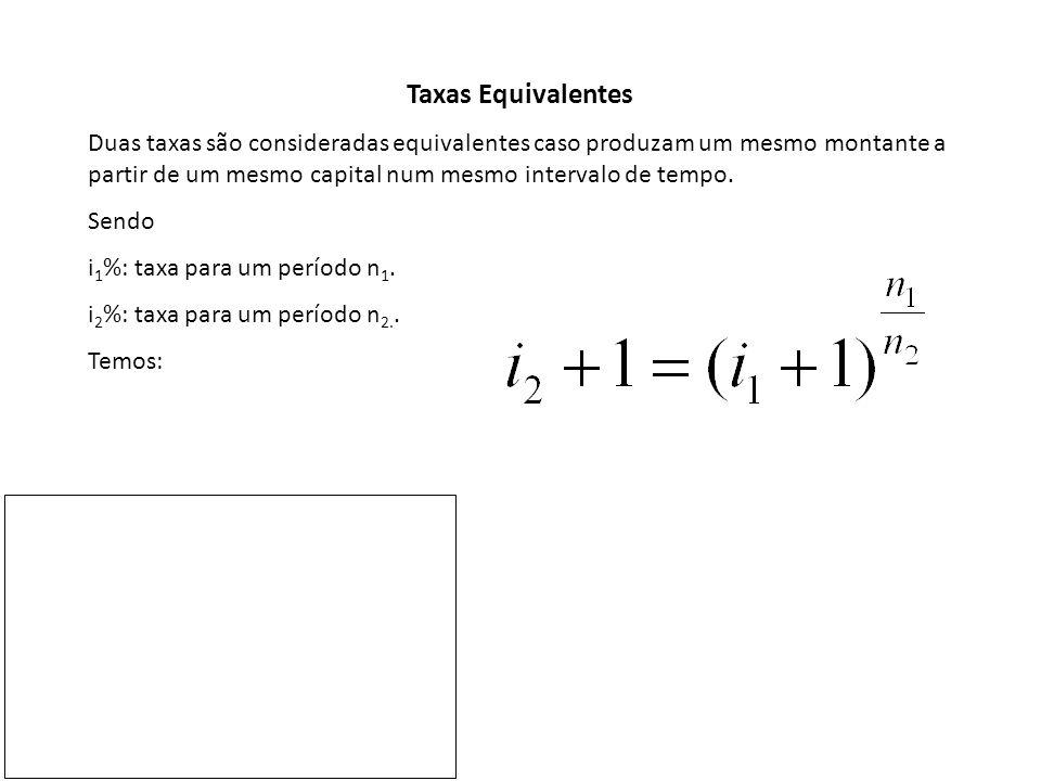 Exemplo 5: Qual é a taxa de juros trimestral equivalente a uma taxa mensal de 20% ao mês.