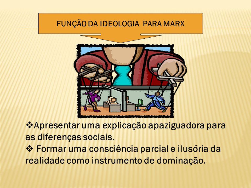 FUNÇÃO DA IDEOLOGIA PARA MARX Apresentar uma explicação apaziguadora para as diferenças sociais. Formar uma consciência parcial e ilusória da realidad