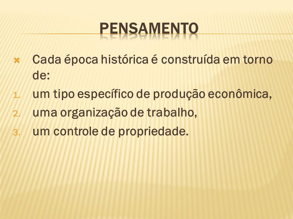 Cada época histórica é construída em torno de: 1. um tipo específico de produção econômica, 2. uma organização de trabalho, 3. um controle de propried