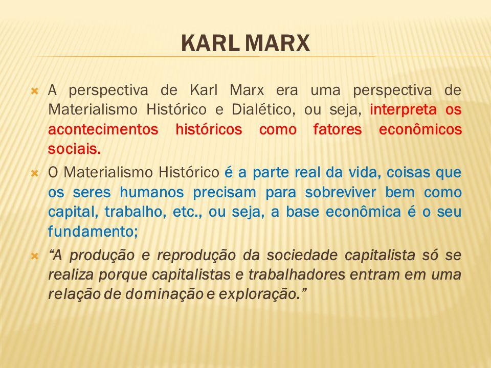 KARL MARX A perspectiva de Karl Marx era uma perspectiva de Materialismo Histórico e Dialético, ou seja, interpreta os acontecimentos históricos como