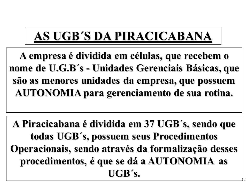 12 AS UGB´S DA PIRACICABANA A empresa é dividida em células, que recebem o nome de U.G.B´s - Unidades Gerenciais Básicas, que são as menores unidades