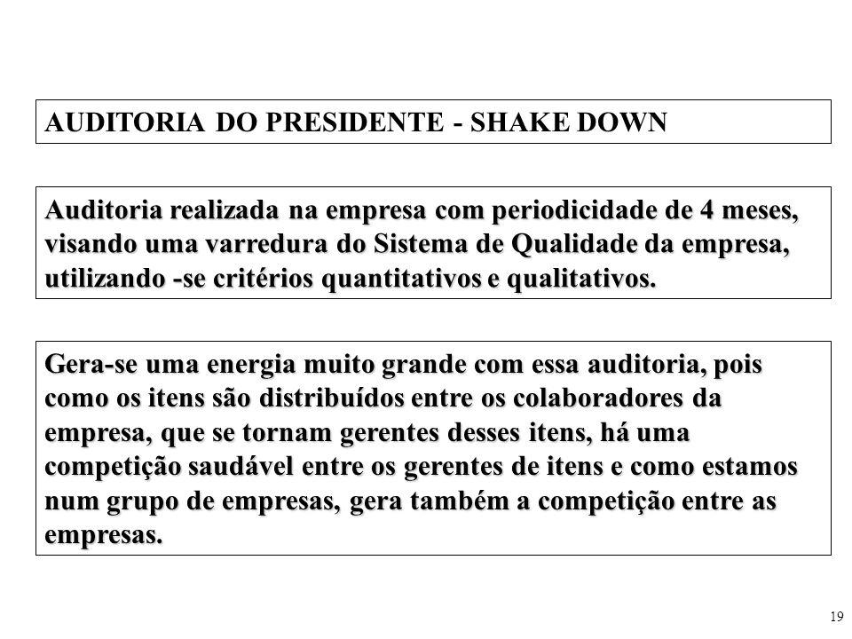 19 AUDITORIA DO PRESIDENTE - SHAKE DOWN Auditoria realizada na empresa com periodicidade de 4 meses, visando uma varredura do Sistema de Qualidade da