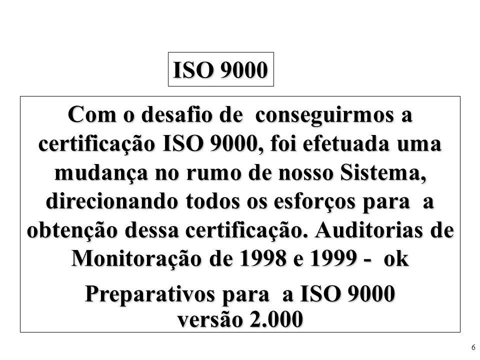6 Com o desafio de conseguirmos a certificação ISO 9000, foi efetuada uma mudança no rumo de nosso Sistema, direcionando todos os esforços para a obte