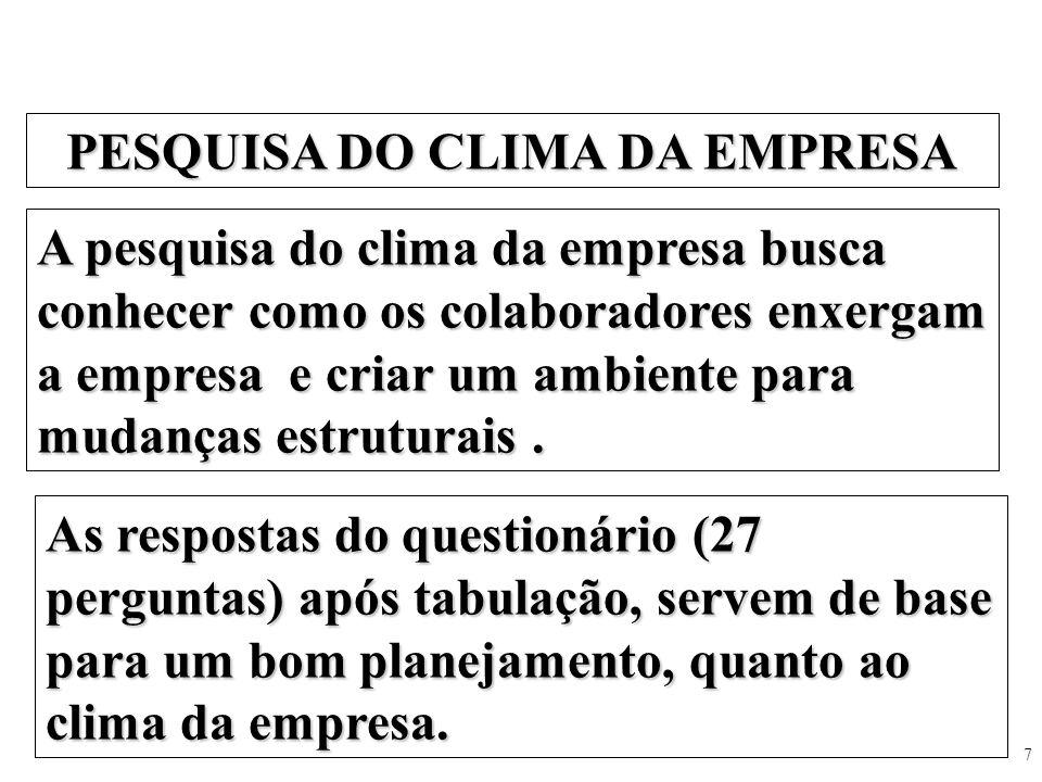 7 PESQUISA DO CLIMA DA EMPRESA A pesquisa do clima da empresa busca conhecer como os colaboradores enxergam a empresa e criar um ambiente para mudança