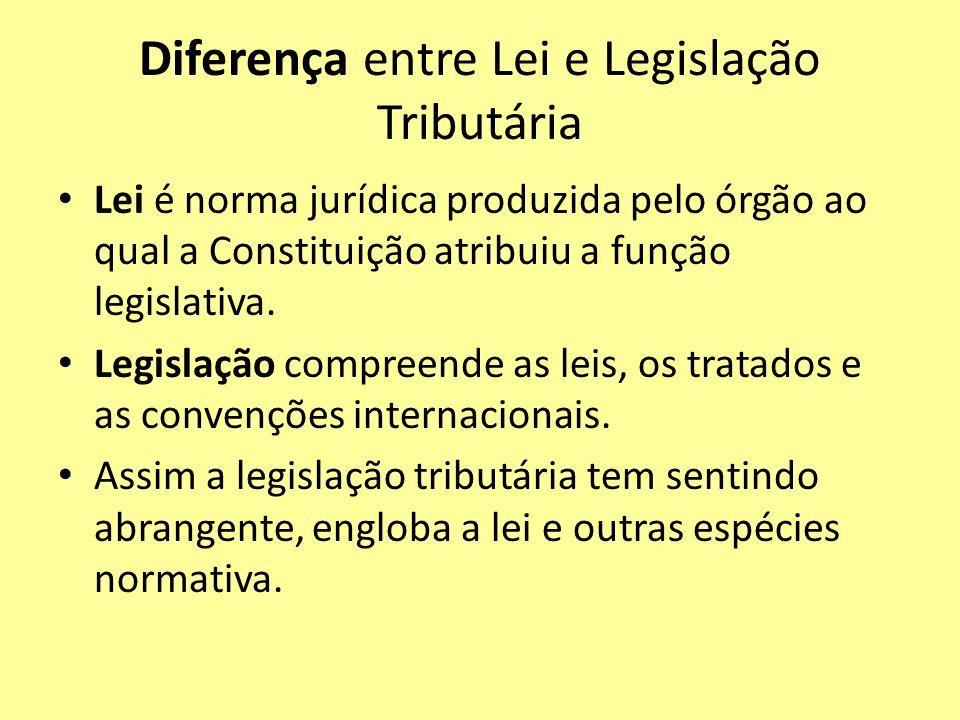 Diferença entre Lei e Legislação Tributária Lei é norma jurídica produzida pelo órgão ao qual a Constituição atribuiu a função legislativa. Legislação