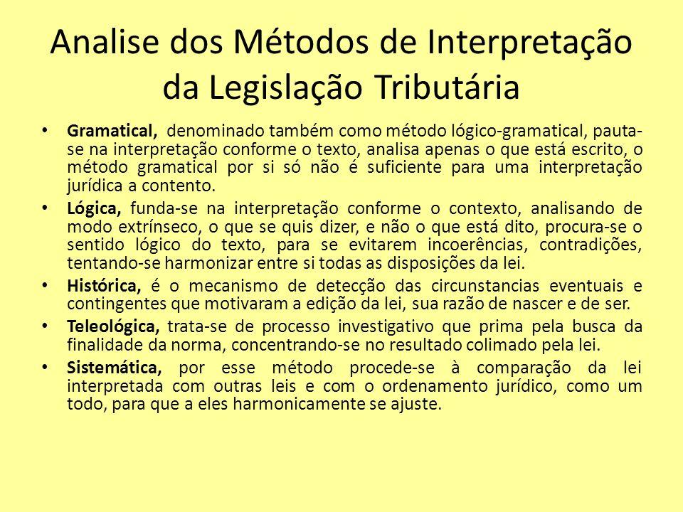 Analise dos Métodos de Interpretação da Legislação Tributária Gramatical, denominado também como método lógico-gramatical, pauta- se na interpretação