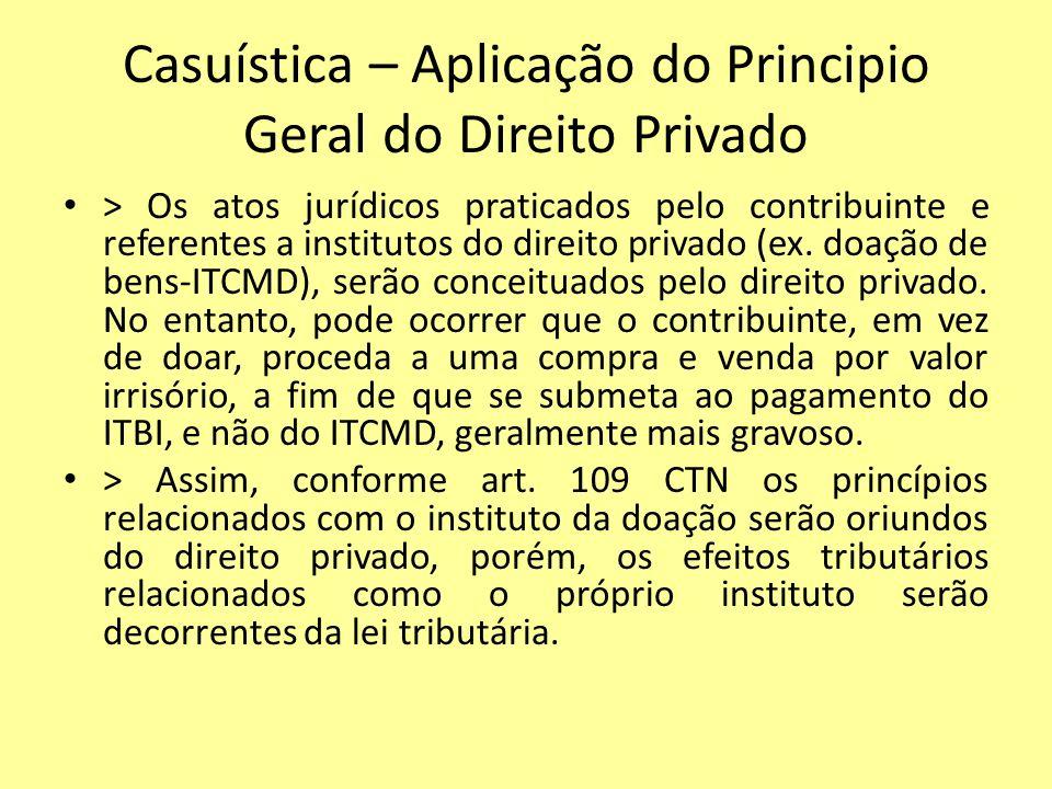 Casuística – Aplicação do Principio Geral do Direito Privado > Os atos jurídicos praticados pelo contribuinte e referentes a institutos do direito pri