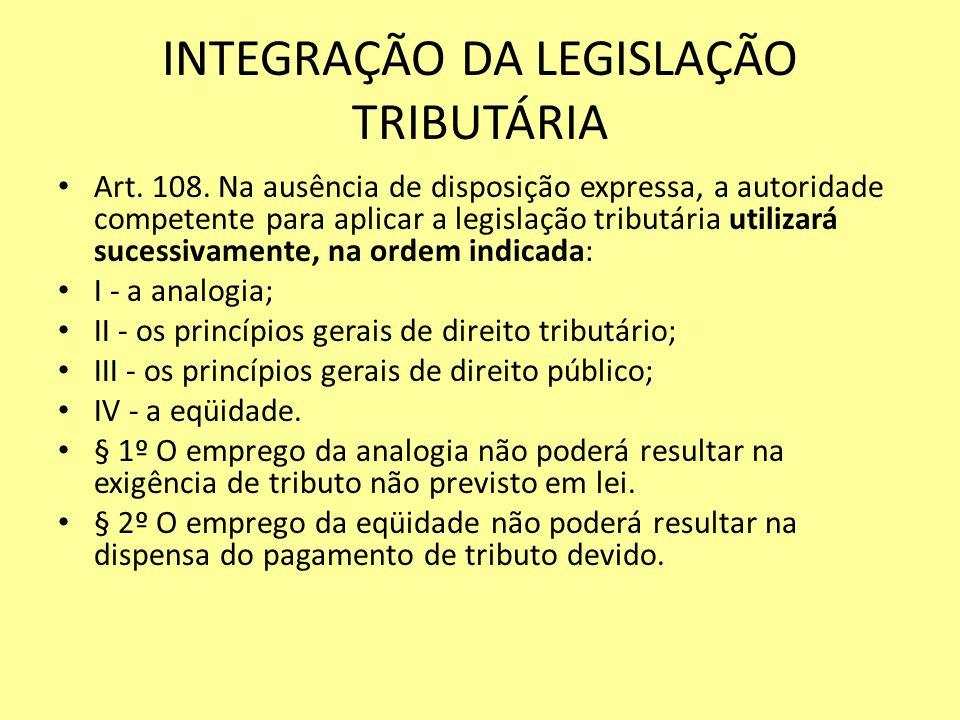 INTEGRAÇÃO DA LEGISLAÇÃO TRIBUTÁRIA Art. 108. Na ausência de disposição expressa, a autoridade competente para aplicar a legislação tributária utiliza