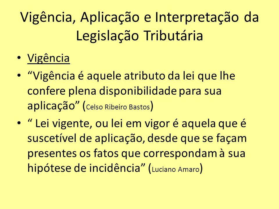 Vigência, Aplicação e Interpretação da Legislação Tributária Vigência Vigência é aquele atributo da lei que lhe confere plena disponibilidade para sua