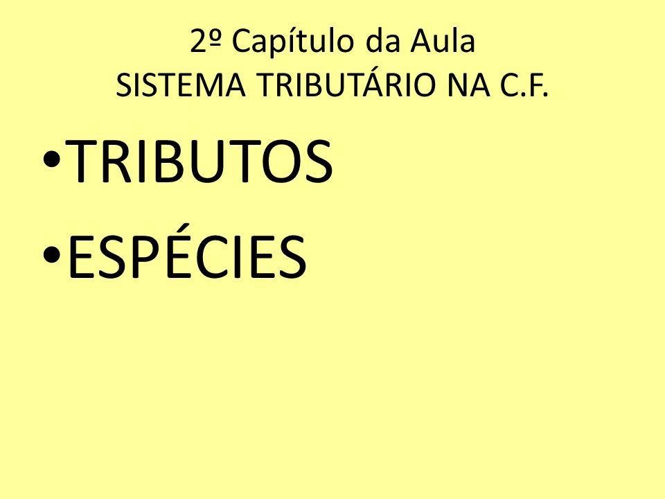 2º Capítulo da Aula SISTEMA TRIBUTÁRIO NA C.F. TRIBUTOS ESPÉCIES