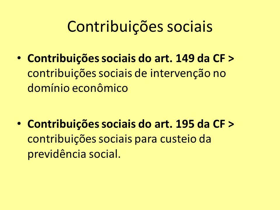 Contribuições sociais Contribuições sociais do art. 149 da CF > contribuições sociais de intervenção no domínio econômico Contribuições sociais do art