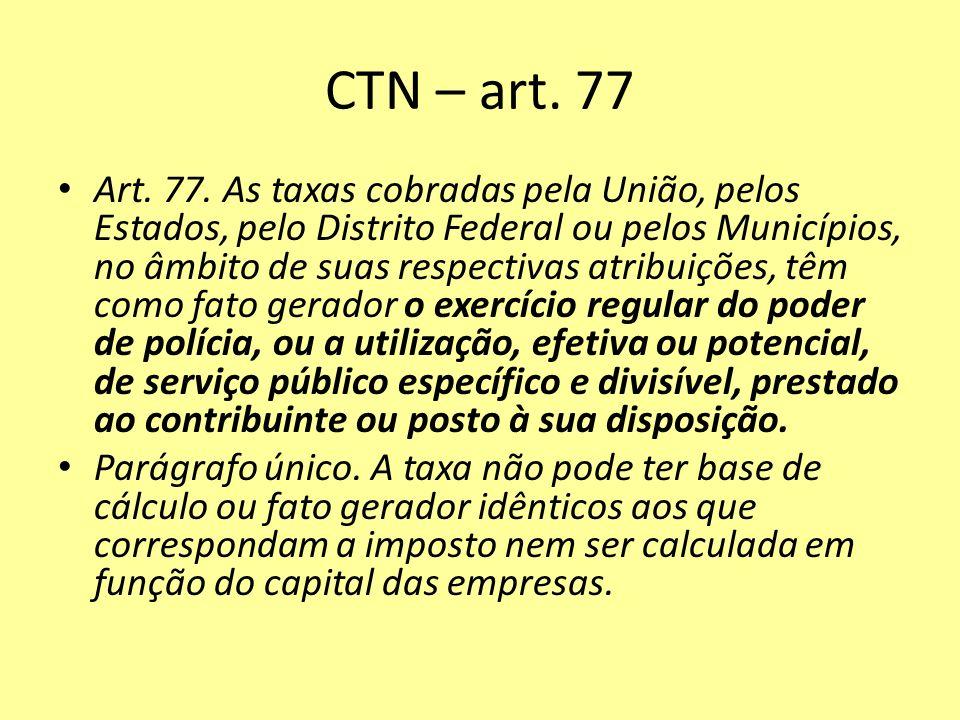 CTN – art. 77 Art. 77. As taxas cobradas pela União, pelos Estados, pelo Distrito Federal ou pelos Municípios, no âmbito de suas respectivas atribuiçõ