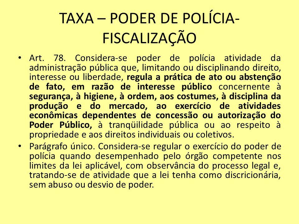TAXA – PODER DE POLÍCIA- FISCALIZAÇÃO Art. 78. Considera-se poder de polícia atividade da administração pública que, limitando ou disciplinando direit
