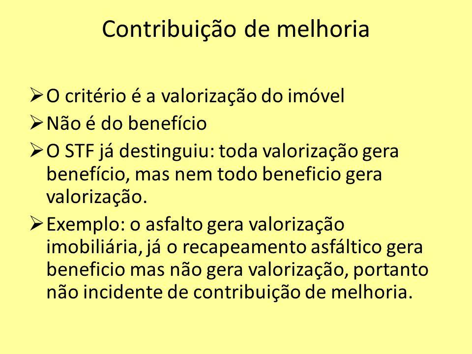 Contribuição de melhoria O critério é a valorização do imóvel Não é do benefício O STF já destinguiu: toda valorização gera benefício, mas nem todo be