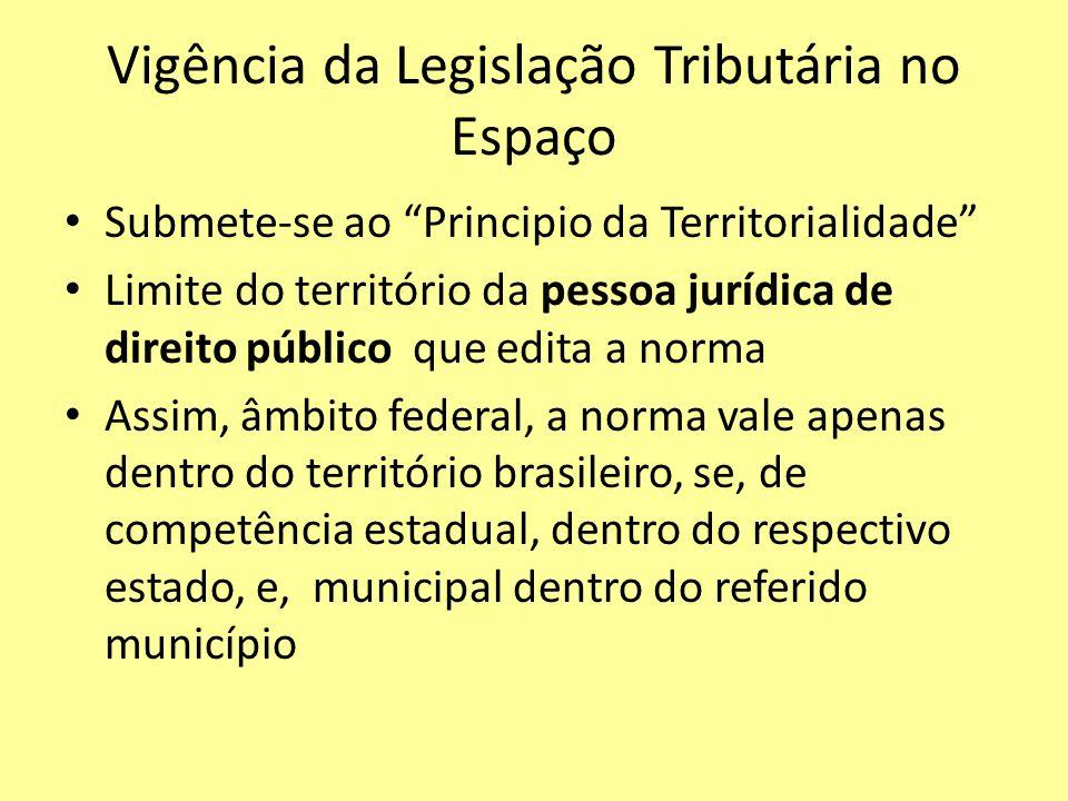 Vigência da Legislação Tributária no Espaço Submete-se ao Principio da Territorialidade Limite do território da pessoa jurídica de direito público que