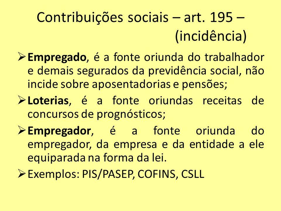 Contribuições sociais – art. 195 – (incidência) Empregado, é a fonte oriunda do trabalhador e demais segurados da previdência social, não incide sobre