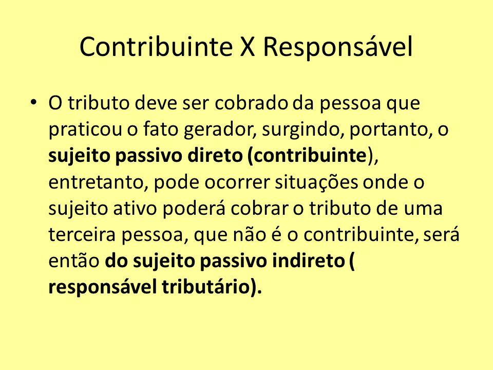Contribuinte X Responsável O tributo deve ser cobrado da pessoa que praticou o fato gerador, surgindo, portanto, o sujeito passivo direto (contribuint