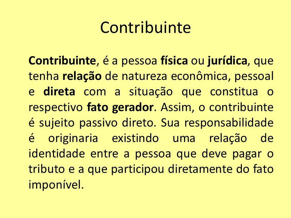 Contribuinte Contribuinte, é a pessoa física ou jurídica, que tenha relação de natureza econômica, pessoal e direta com a situação que constitua o res