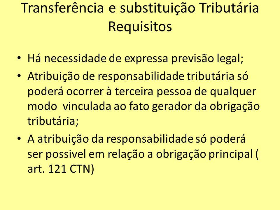 Transferência e substituição Tributária Requisitos Há necessidade de expressa previsão legal; Atribuição de responsabilidade tributária só poderá ocor