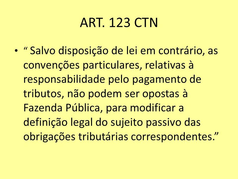 ART. 123 CTN Salvo disposição de lei em contrário, as convenções particulares, relativas à responsabilidade pelo pagamento de tributos, não podem ser