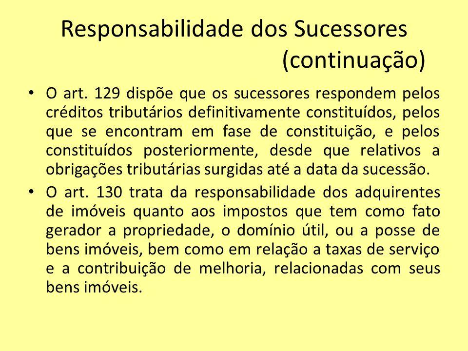 Responsabilidade dos Sucessores (continuação) O art. 129 dispõe que os sucessores respondem pelos créditos tributários definitivamente constituídos, p