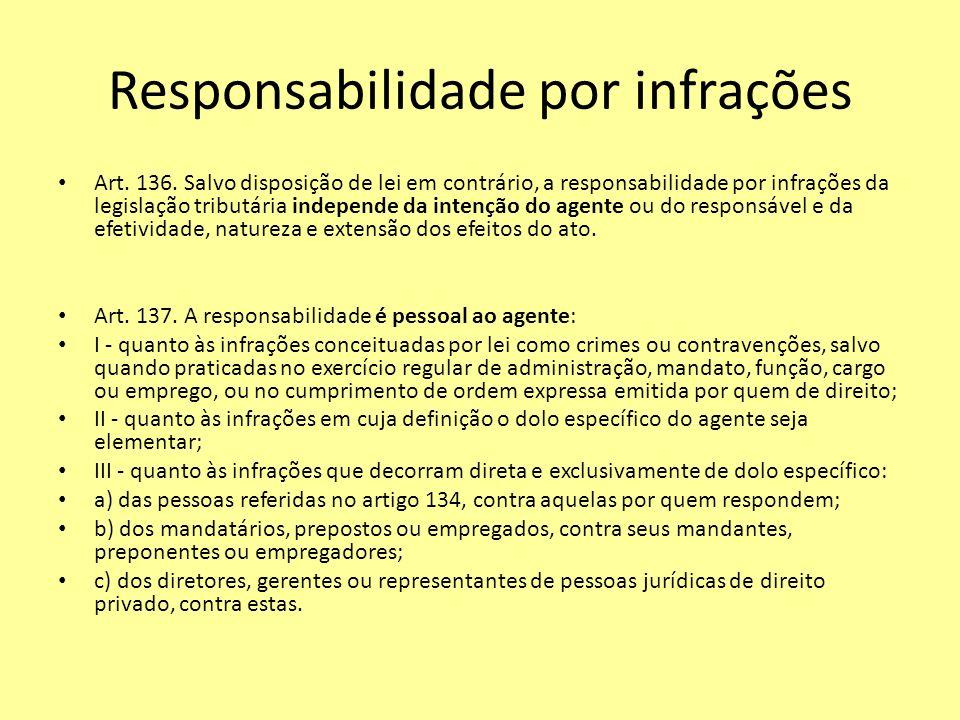 Responsabilidade por infrações Art. 136. Salvo disposição de lei em contrário, a responsabilidade por infrações da legislação tributária independe da