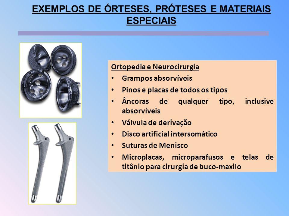 Ortopedia e Neurocirurgia Grampos absorvíveis Pinos e placas de todos os tipos Âncoras de qualquer tipo, inclusive absorvíveis Válvula de derivação Di