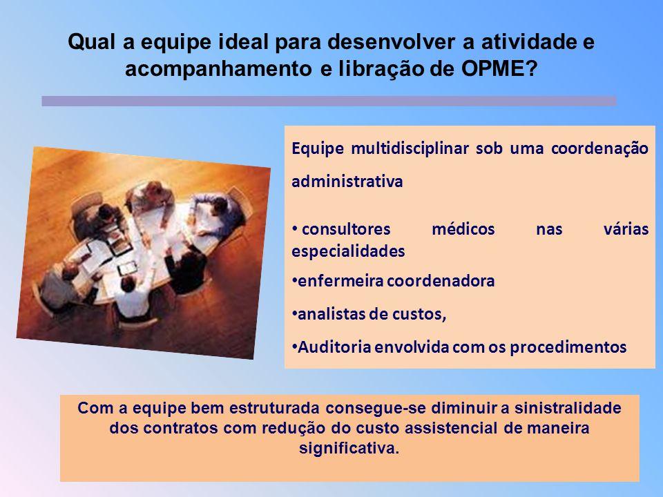 Equipe multidisciplinar sob uma coordenação administrativa consultores médicos nas várias especialidades enfermeira coordenadora analistas de custos,