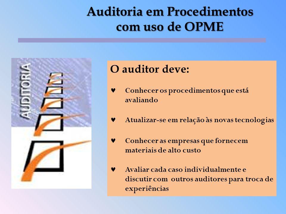O auditor deve: Conhecer os procedimentos que está avaliando Atualizar-se em relação às novas tecnologias Conhecer as empresas que fornecem materiais