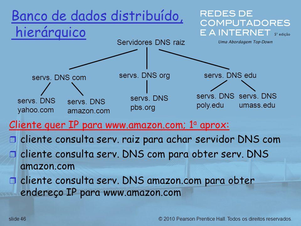 © 2010 Pearson Prentice Hall.Todos os direitos reservados.slide 46 Servidores DNS raiz servs.