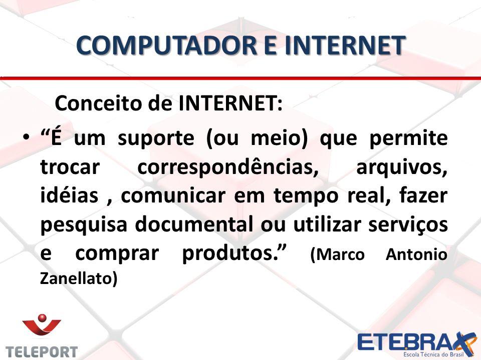 COMPUTADOR E INTERNET Conceito de INTERNET: É um suporte (ou meio) que permite trocar correspondências, arquivos, idéias, comunicar em tempo real, fazer pesquisa documental ou utilizar serviços e comprar produtos.