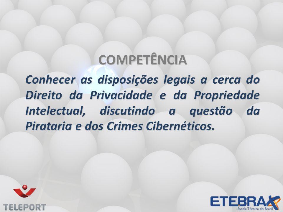 COMPETÊNCIA Conhecer as disposições legais a cerca do Direito da Privacidade e da Propriedade Intelectual, discutindo a questão da Pirataria e dos Crimes Cibernéticos.