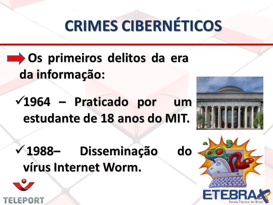 CRIMES CIBERNÉTICOS Os primeiros delitos da era da informação: Os primeiros delitos da era da informação: 1964 – Praticado por um estudante de 18 anos do MIT.