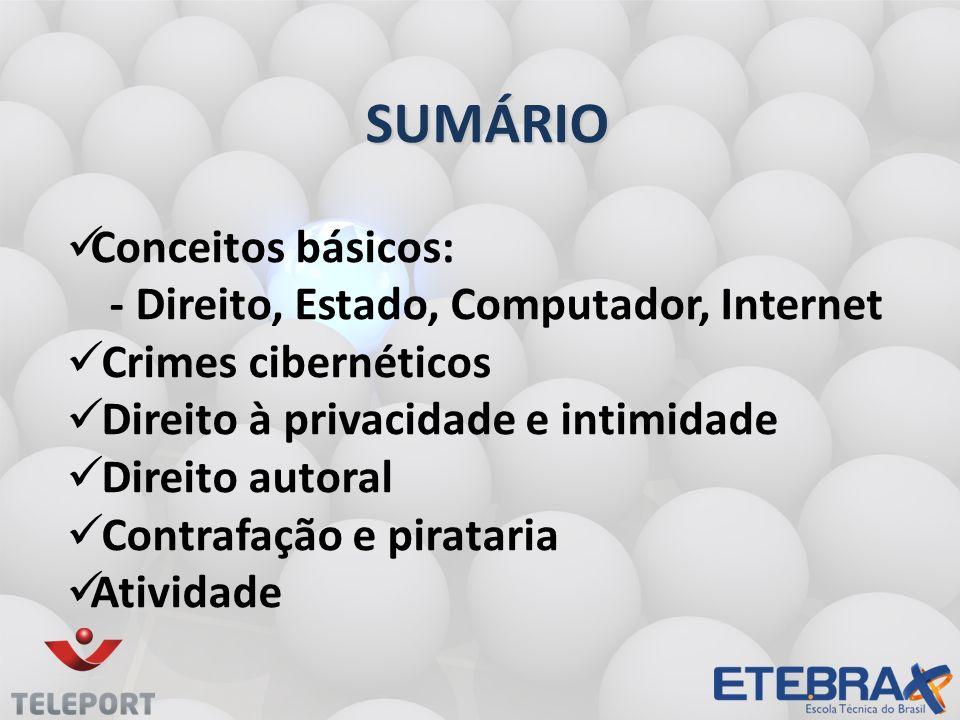 SUMÁRIO Conceitos básicos: - Direito, Estado, Computador, Internet Crimes cibernéticos Direito à privacidade e intimidade Direito autoral Contrafação e pirataria Atividade