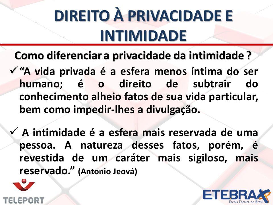 DIREITO À PRIVACIDADE E INTIMIDADE Como diferenciar a privacidade da intimidade .