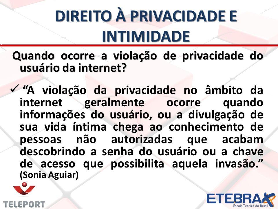 DIREITO À PRIVACIDADE E INTIMIDADE Quando ocorre a violação de privacidade do usuário da internet.