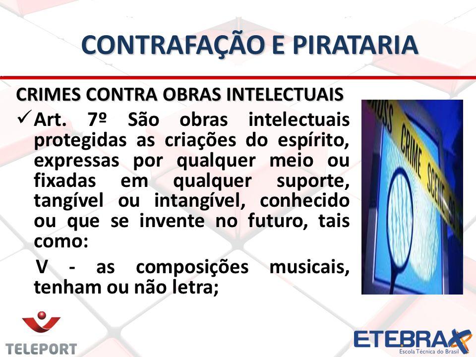 CONTRAFAÇÃO E PIRATARIA CRIMES CONTRA OBRAS INTELECTUAIS Art.