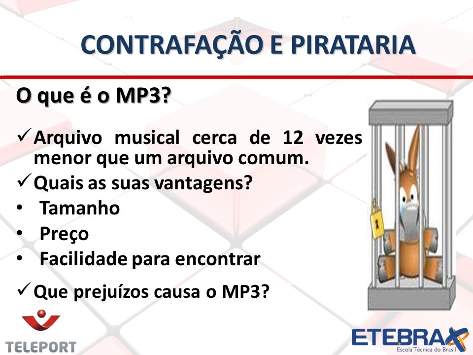 CONTRAFAÇÃO E PIRATARIA O que é o MP3.