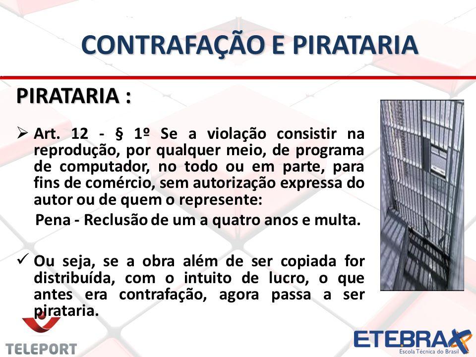 CONTRAFAÇÃO E PIRATARIA PIRATARIA : Art.