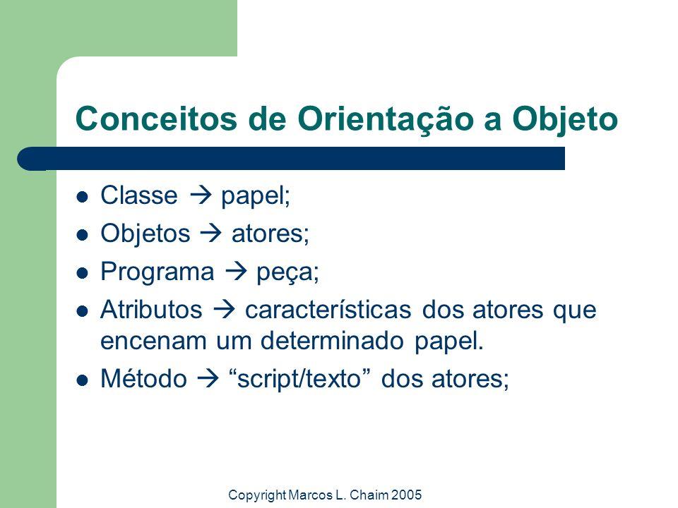 Copyright Marcos L. Chaim 2005 Conceitos de Orientação a Objeto Classe papel; Objetos atores; Programa peça; Atributos características dos atores que