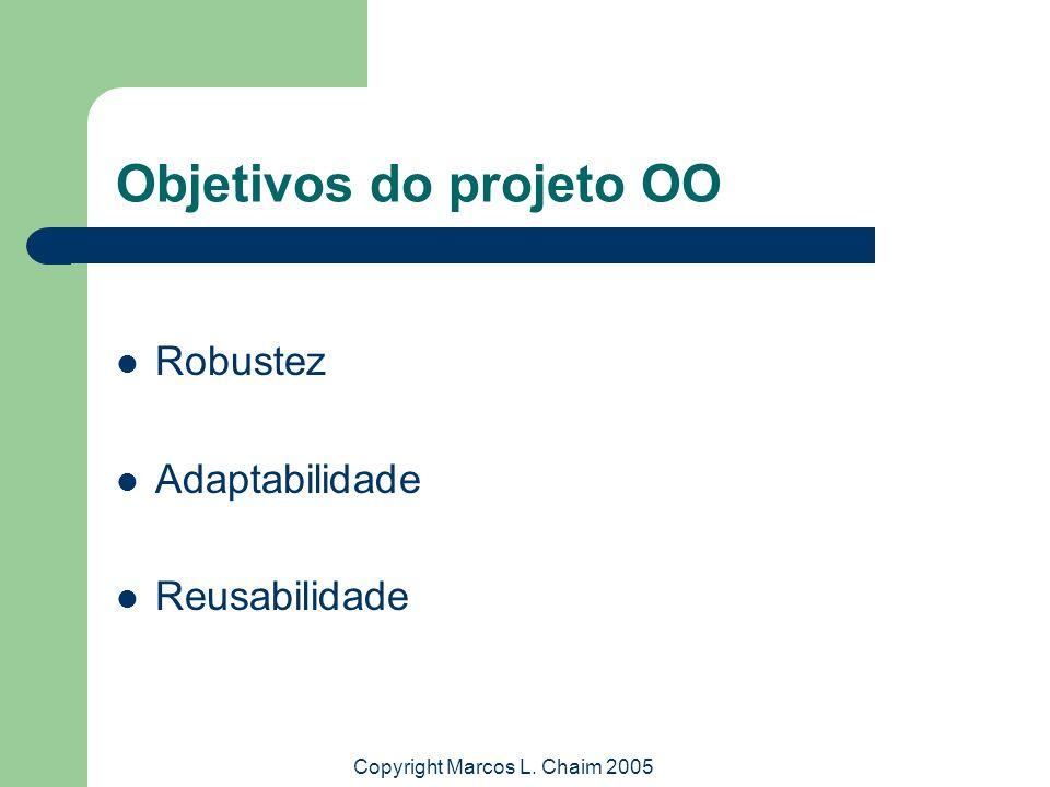 Copyright Marcos L. Chaim 2005 Objetivos do projeto OO Robustez Adaptabilidade Reusabilidade