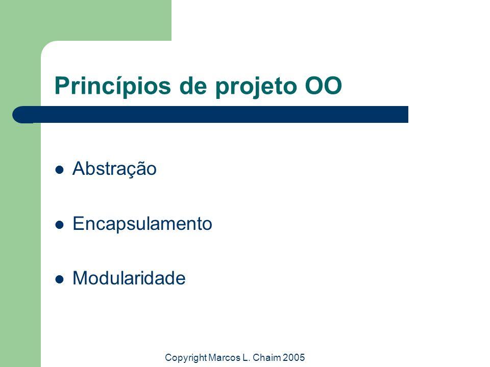 Copyright Marcos L. Chaim 2005 Princípios de projeto OO Abstração Encapsulamento Modularidade