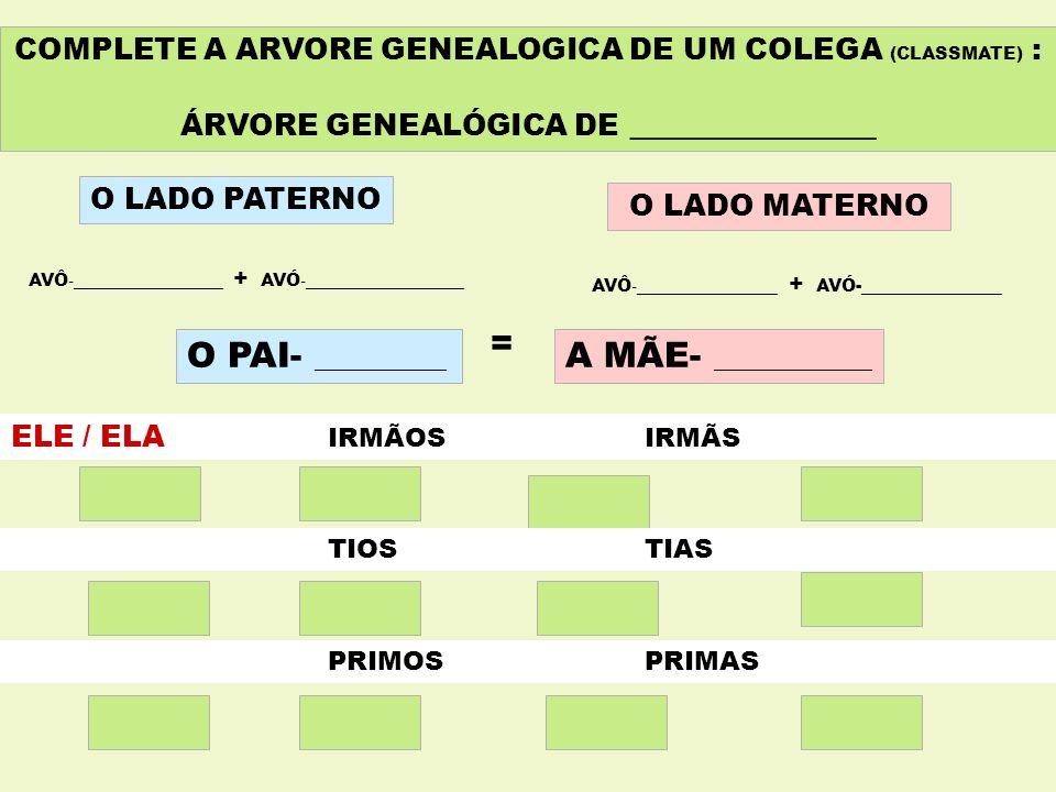 COMPLETE A ARVORE GENEALOGICA DE UM COLEGA (CLASSMATE) : ÁRVORE GENEALÓGICA DE ______________ O LADO PATERNO O LADO MATERNO AVÔ -_________________ + A