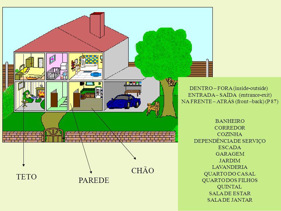 DENTRO – FORA (inside-outside) ENTRADA – SAÍDA (entrance-exit) NA FRENTE – ATRÁS (front –back) (P 87) BANHEIRO CORREDOR COZINHA DEPENDÊNCIA DE SERVIÇO