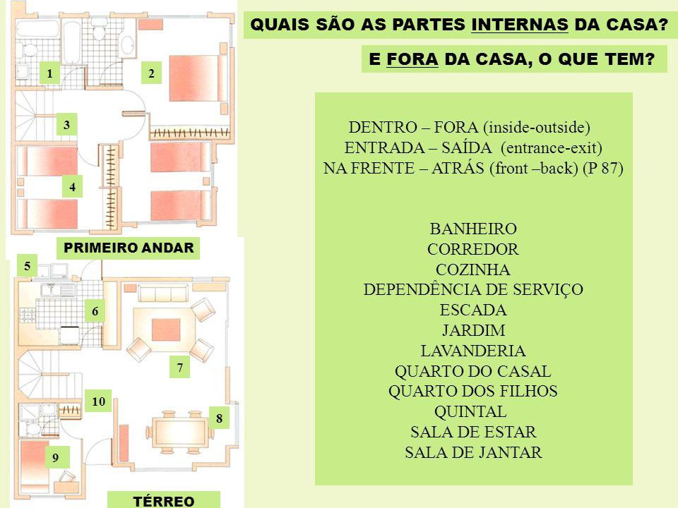 TÉRREO PRIMEIRO ANDAR 12 3 4 5 6 7 8 9 10 QUAIS SÃO AS PARTES INTERNAS DA CASA? E FORA DA CASA, O QUE TEM? DENTRO – FORA (inside-outside) ENTRADA – SA