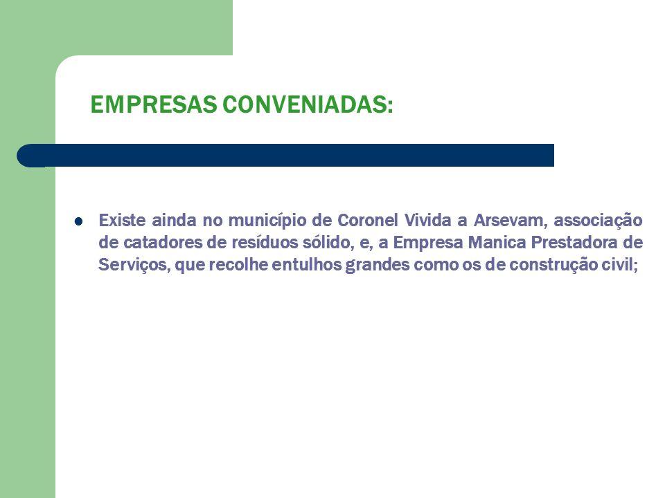 EMPRESAS CONVENIADAS: Existe ainda no município de Coronel Vivida a Arsevam, associação de catadores de resíduos sólido, e, a Empresa Manica Prestador
