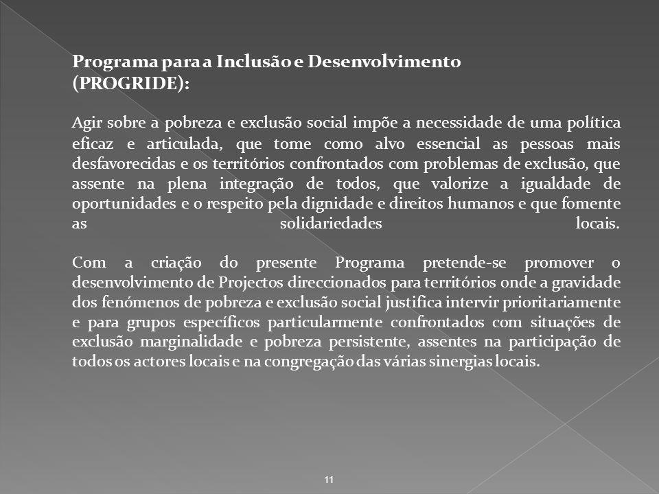Programa para a Inclusão e Desenvolvimento (PROGRIDE): Agir sobre a pobreza e exclusão social impõe a necessidade de uma política eficaz e articulada,
