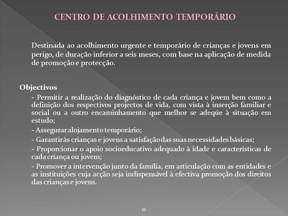 CENTRO DE ACOLHIMENTO TEMPORÁRIO Destinada ao acolhimento urgente e temporário de crianças e jovens em perigo, de duração inferior a seis meses, com b